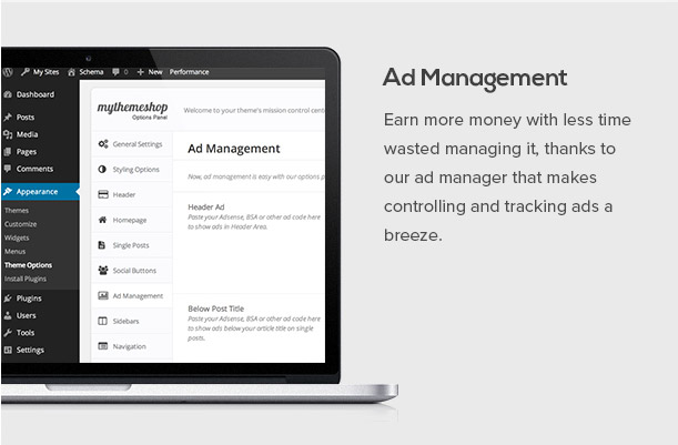 SEO Friendly WordPress Themes with Schema Features wit Ad Management