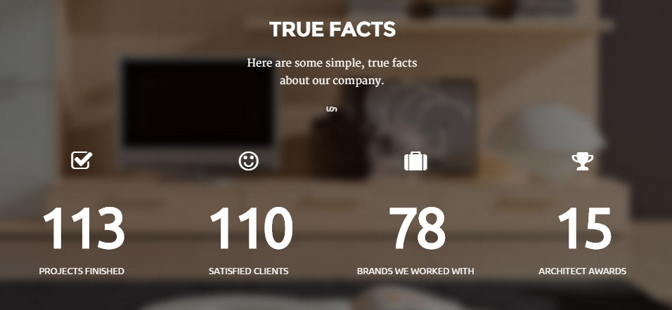 Architect WordPress Theme - Counter Stats Feature