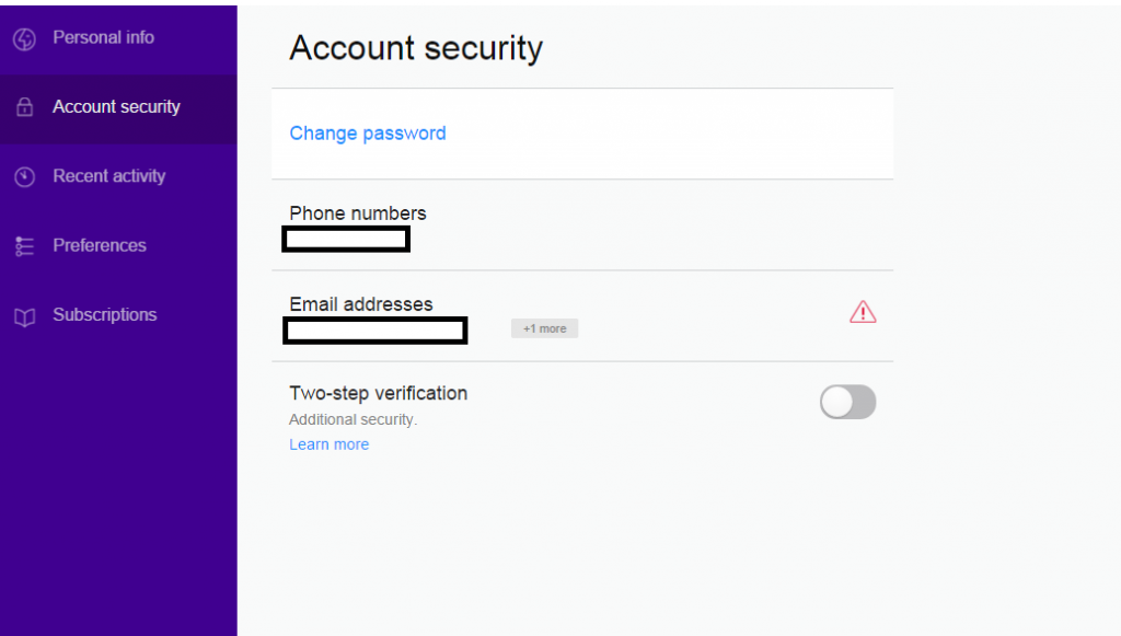 Account Info in Yahoo Mail Two-Step Verification