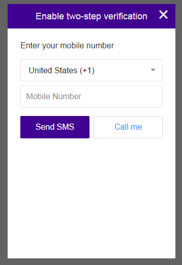 Yahoo Mail Two-Step Verification Popup