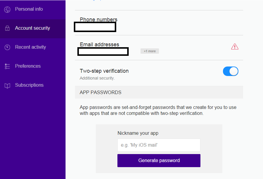 Yahoo Mail Two-Step Verification Send Message Phone Finished
