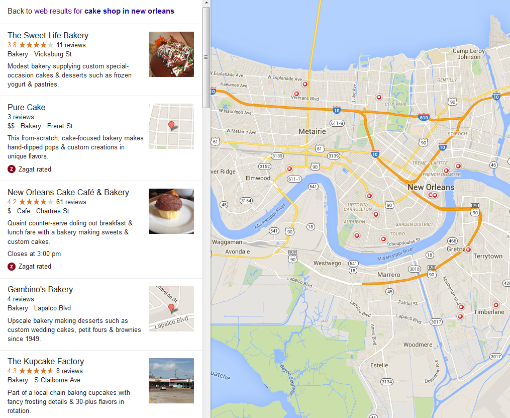 Local Business Search Results with WordPress Sites