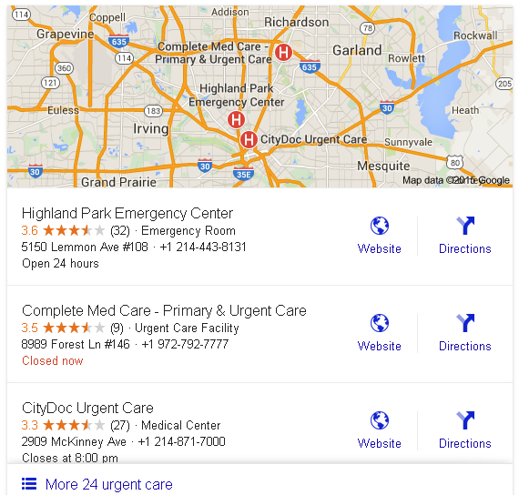 Sample Local Reviews in 24 hours Urgent Care