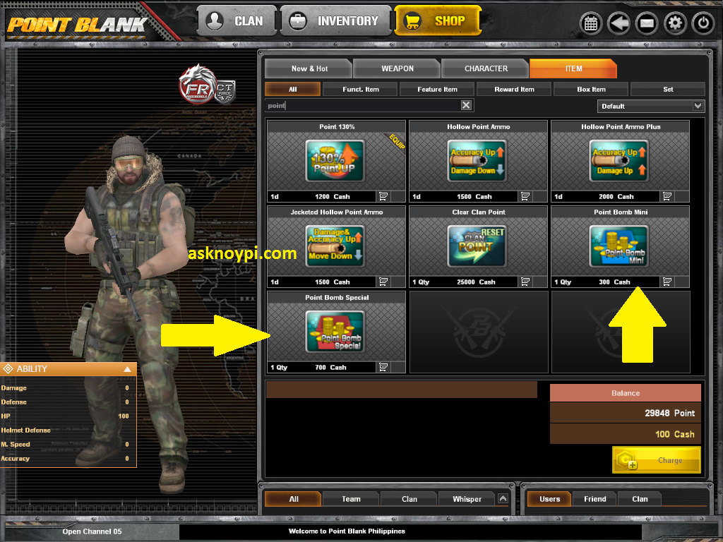 point blank convert cash to points